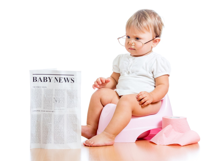 Baby reading the news